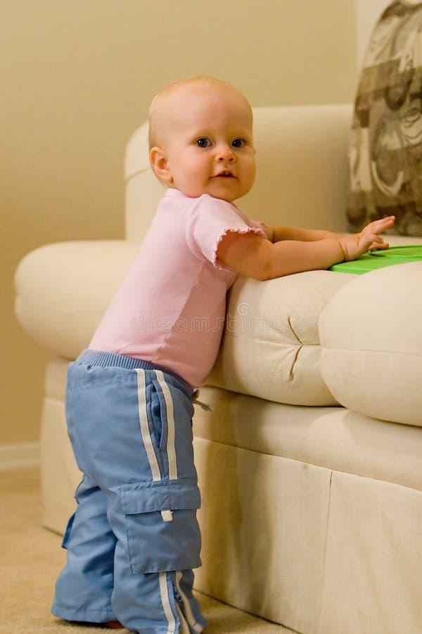 Bald baby stock image