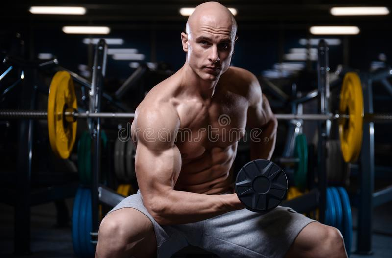 Brutal strong bodybuilder athletic men pumping up muscles with d. Bald brutal strong bodybuilder athletic fitness man pumping up abs muscles. Workout royalty free stock photos