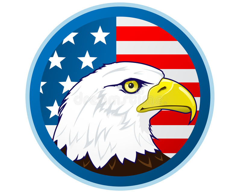 Bald eagle and American flag royalty free illustration