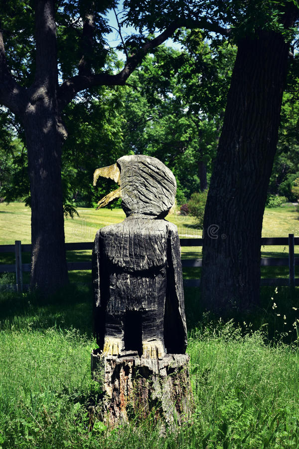 Bald Eagle Stump. A bald eagle carved out of a tree stump. It is very weathered looking and framed between two living trees royalty free stock images