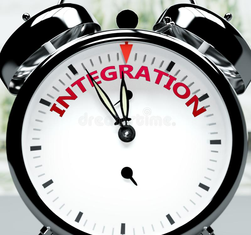 Bald, fast dort, in kurzer Zeit - eine Uhr symbolisiert eine Erinnerung daran, dass die Integration in naher Zukunft stattfindet, stock abbildung