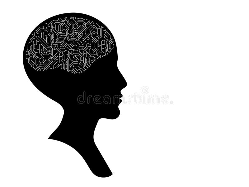 Bald female head profile silhouette with printed circuit board brain, black and white artificial intellect concept royalty free illustration