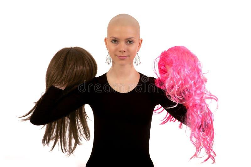 Bald girl stock images