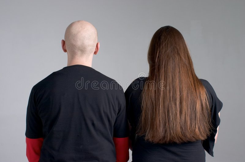 Bald and hairy stock photos