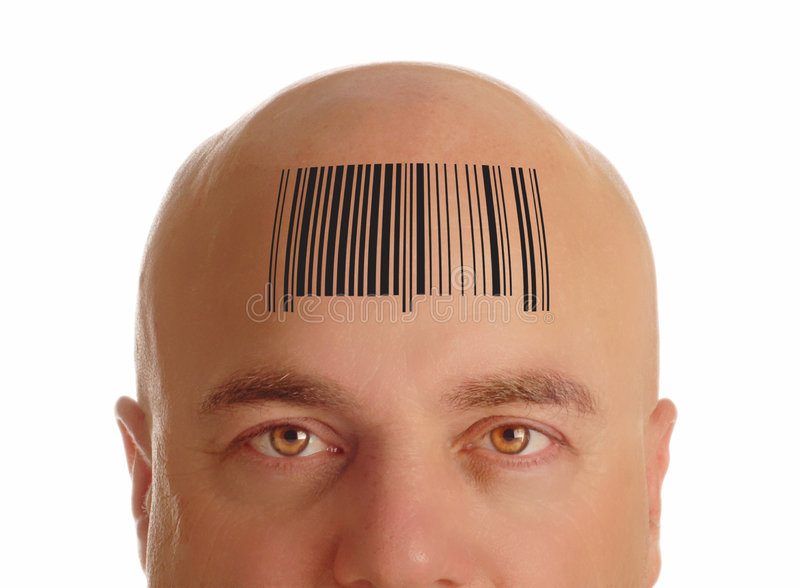 Download Bald head with barcode stock image. Image of commerce - 6488413