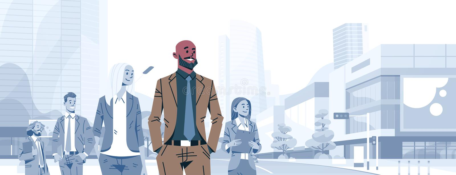 Bald head businessman team leader boss stand out business people group individual leadership concept male cartoon. Character portrait cityscape background vector illustration
