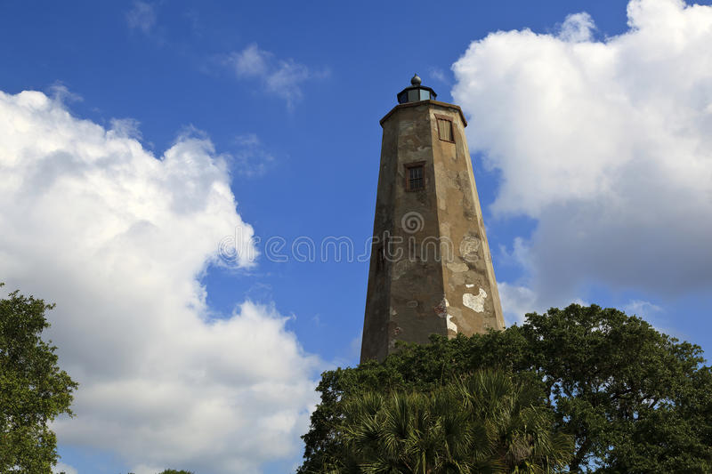 Bald Head Island Lighthouse. Also called Old Baldy in North Carolina stock photo