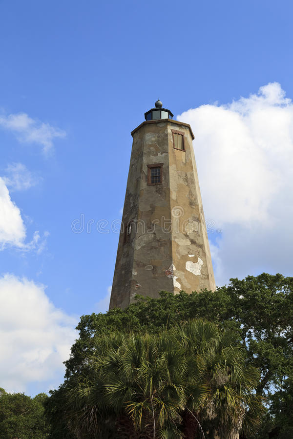 Bald Head Island Lighthouse. Also called Old Baldy in North Carolina stock image