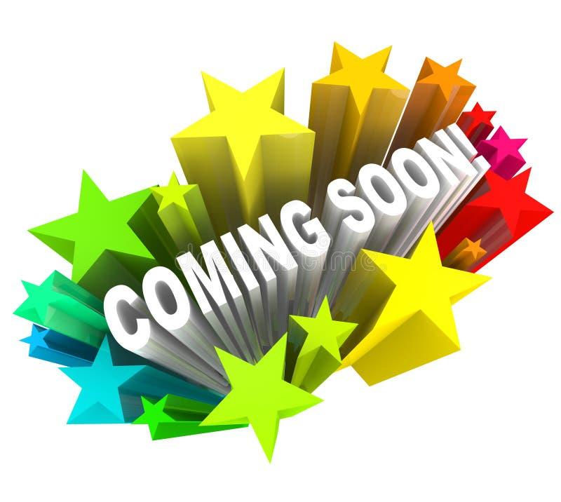 Bald kommen Mitteilung der neues Produkt-oder Speicher-Öffnung stock abbildung
