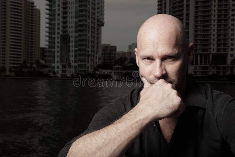Bald male headshot stock image