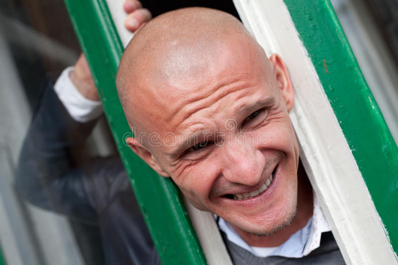 Download Bald man stock image. Image of white, window, unhappy - 15981151