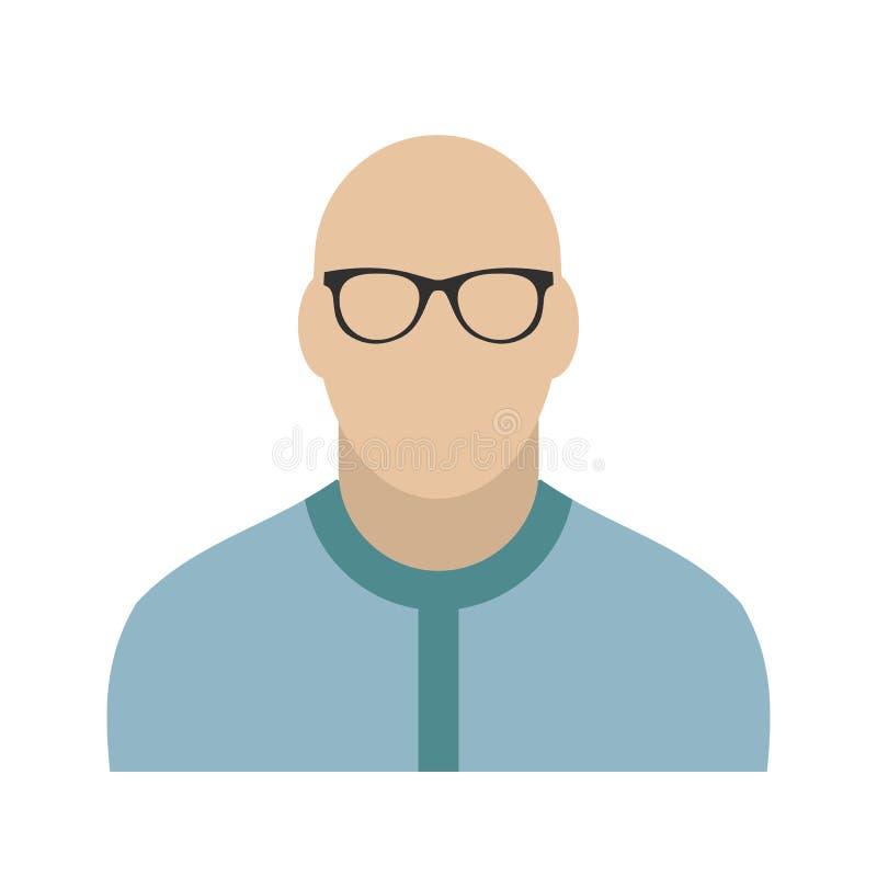 Bald man avatar icon. On white background stock illustration
