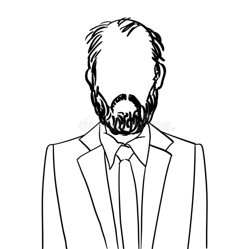 Bald man with beard avatar. Hand drawn artistic illustration of an anonymous bald man with beard avatar, doodle isolated on white royalty free illustration