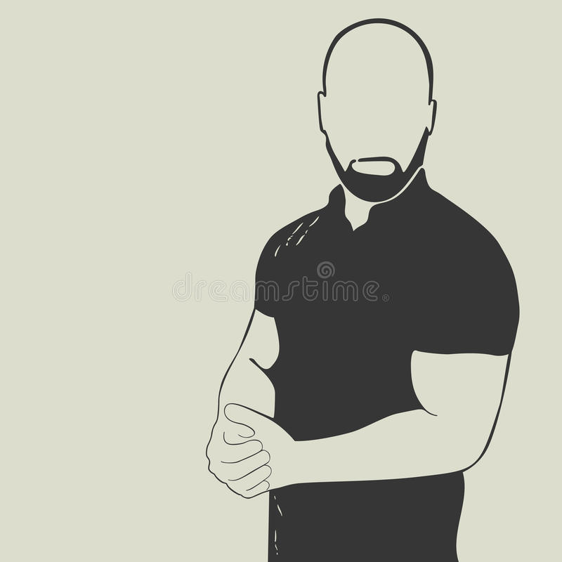 Bald man with a beard wearing a polo shirt. Vector silhouette of a businessman or sportsmen royalty free illustration