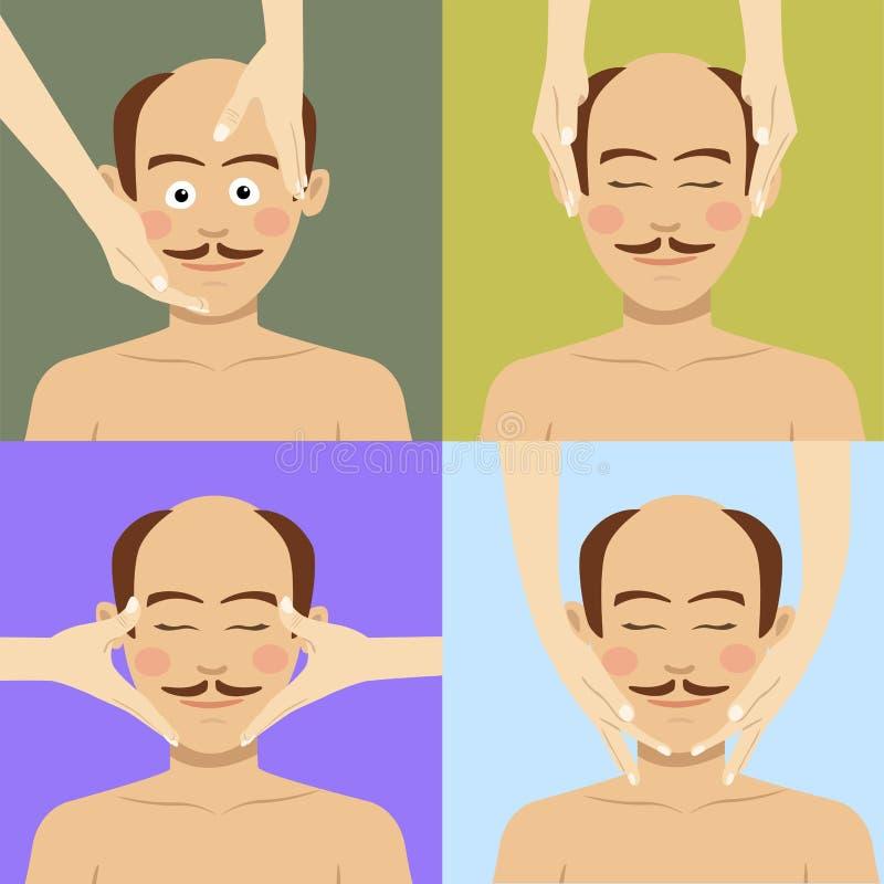 Bald man having facial massage in spa. Top view. Bald man having facial massage in spa salon. Top view vector illustration