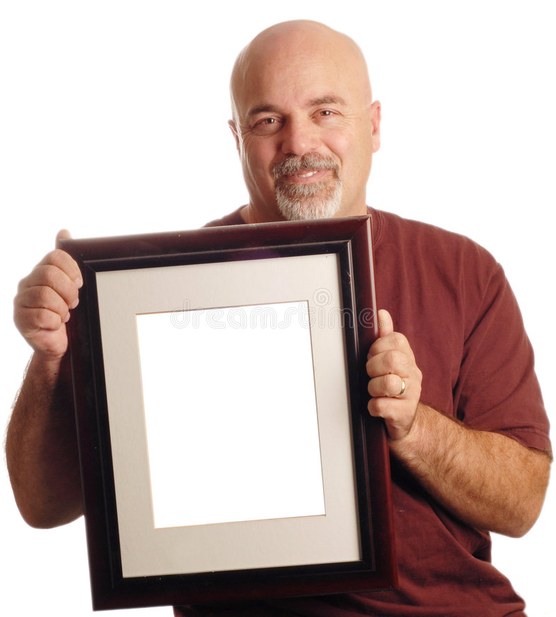 Bald man holding picture. Frame isolated on white background royalty free stock photos