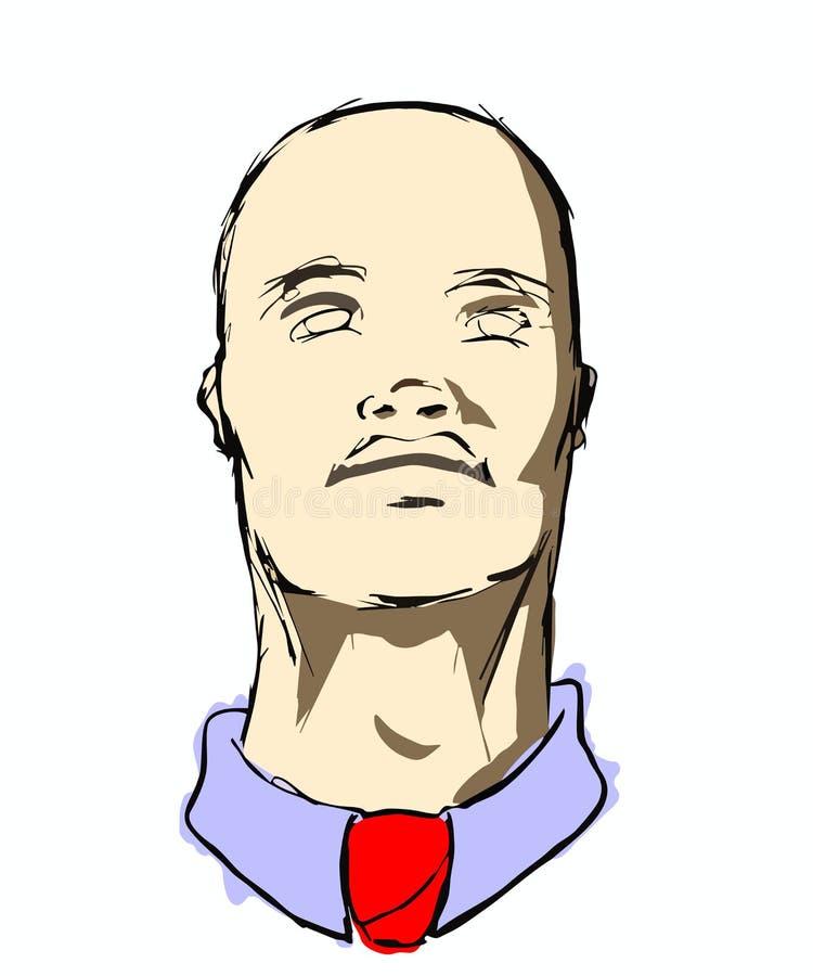 Bald Man Looking Up stock photo