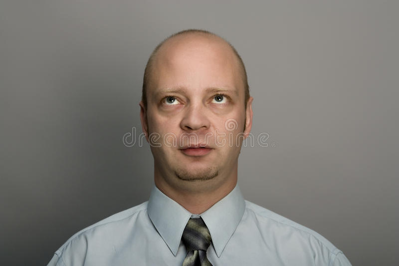 Download Bald man looks upwards stock photo. Image of portrait - 14743934