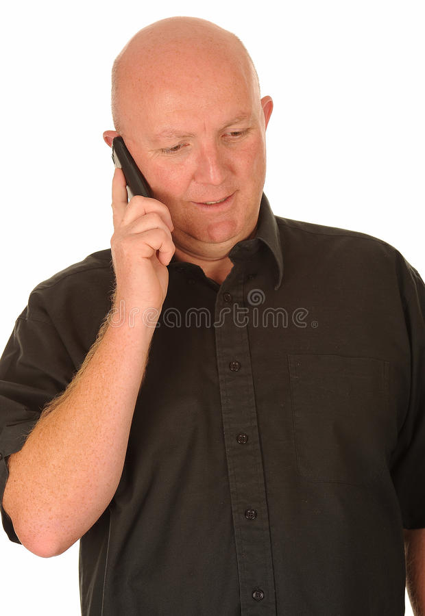 Bald Man with Mobile Phone royalty free stock images