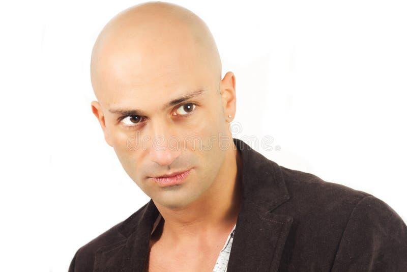 Bald man model stock photos