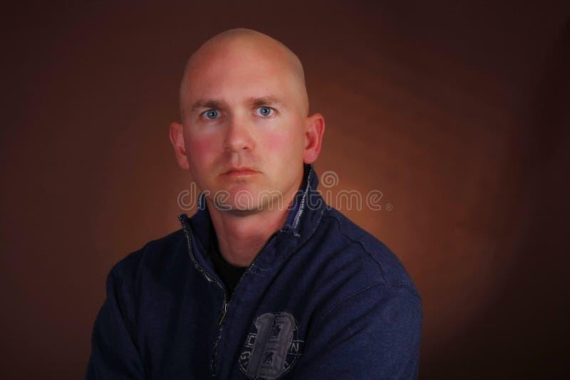 Bald Man Serious Look stock images
