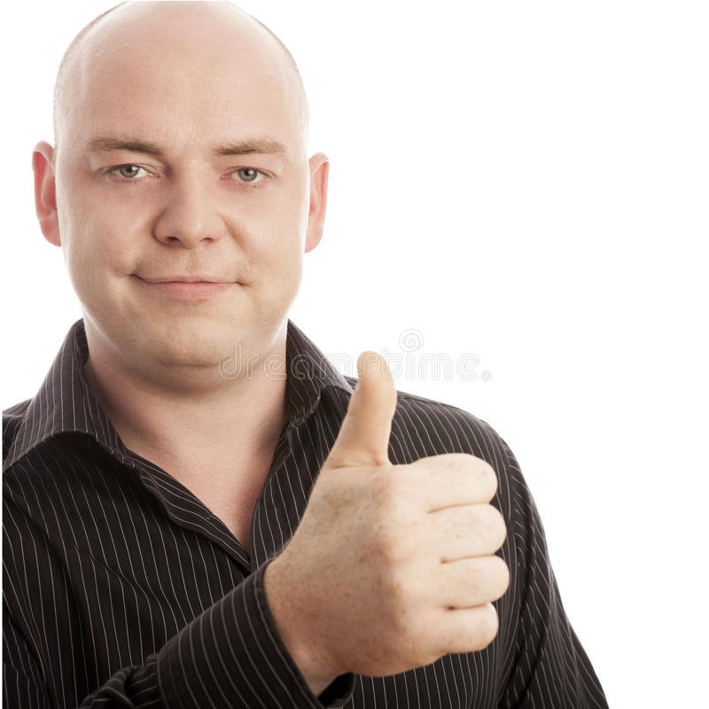 Bald man in shirt thumb up and smile stock photo