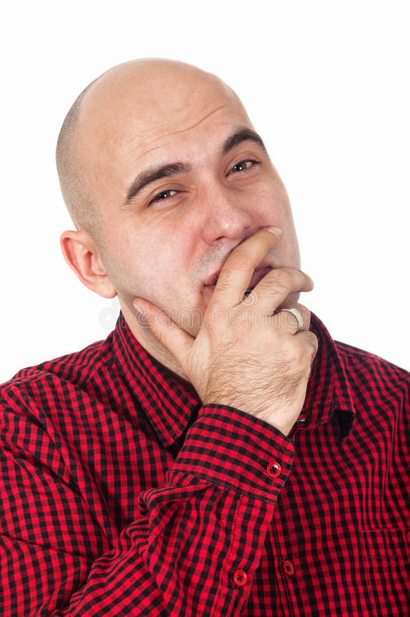 Download Bald man thinking stock image. Image of isolated, thoughtful - 28453817