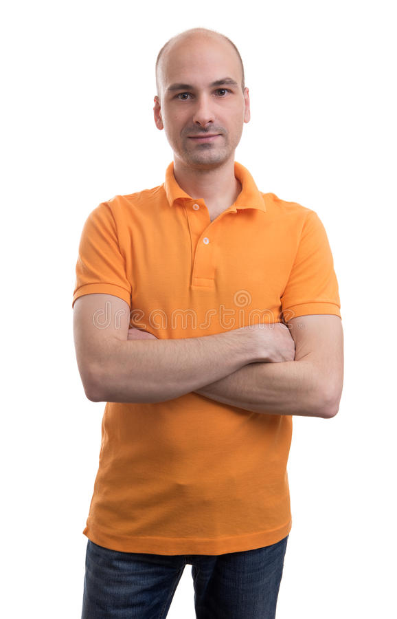 Bald man wearing polo shirt royalty free stock images