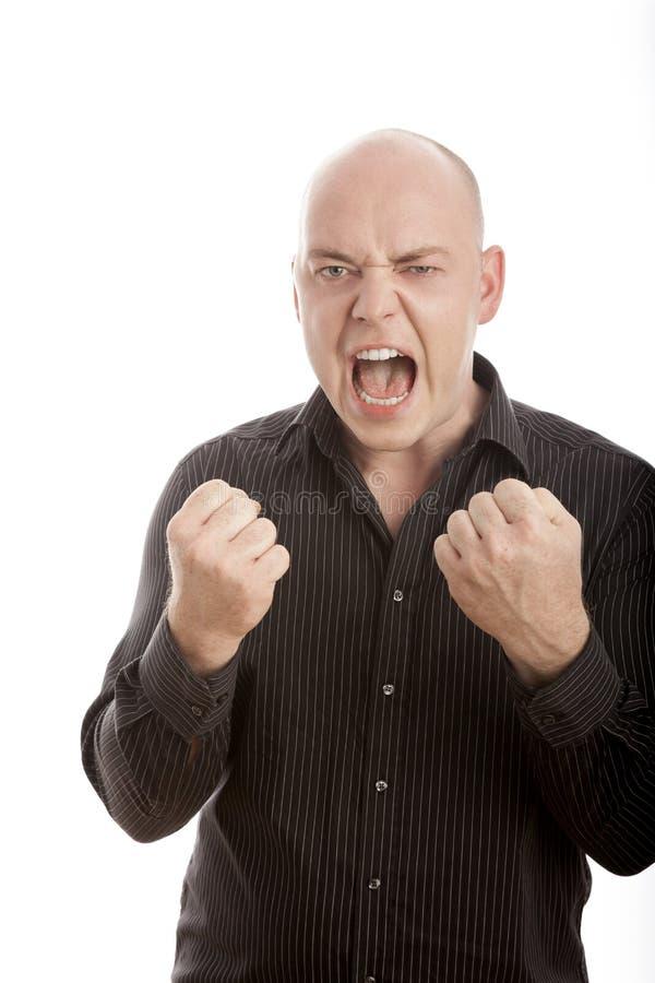 Bald Man Win And Scream Stock Photos