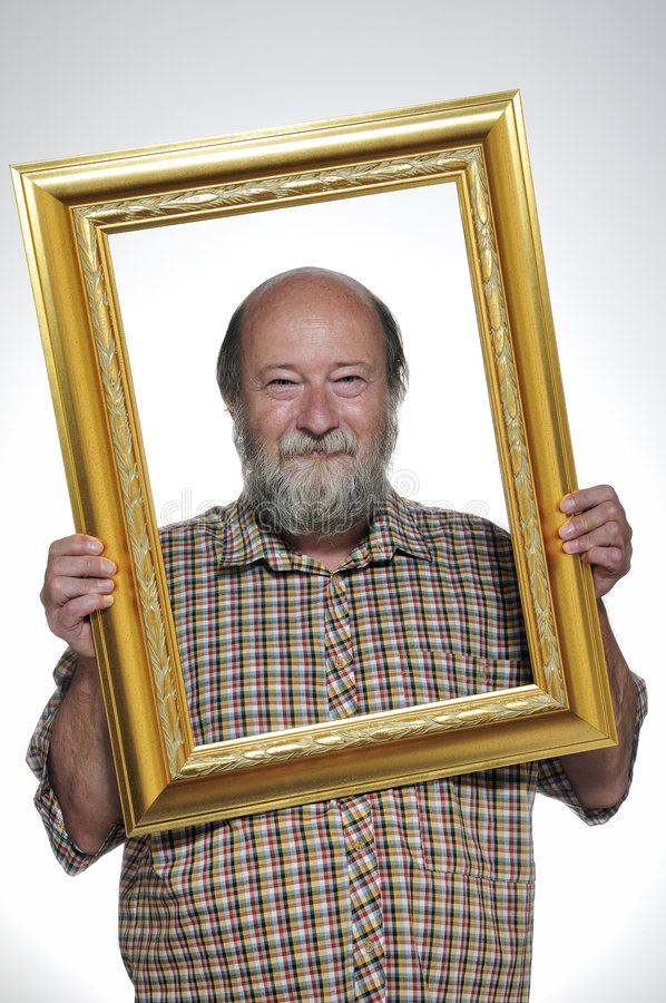 Free Bald Man With A Frame Royalty Free Stock Image - 7001756