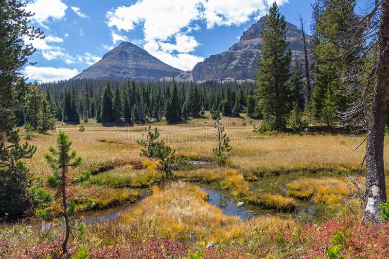 Bald Mountain and alpine meadows, Mirror Lake Scenic Byway, Utah. Small creeks run through an area of meadows and lead the eye to conical Bald Mountain. Image royalty free stock photo