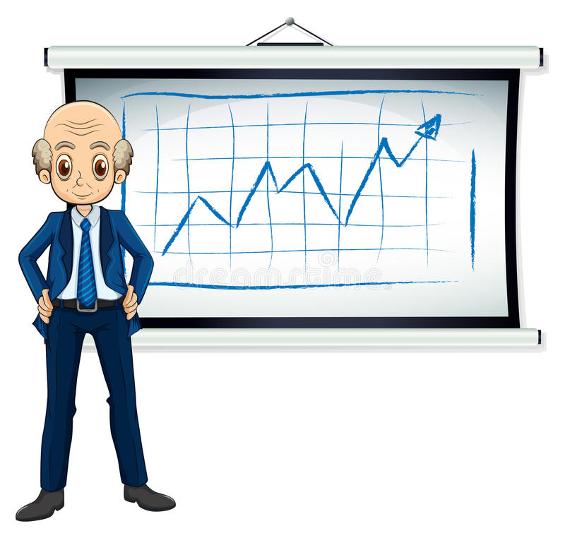 A bald old businessman in front of the whiteboard. Illustration of a bald old businessman in front of the whiteboard on a white background stock illustration