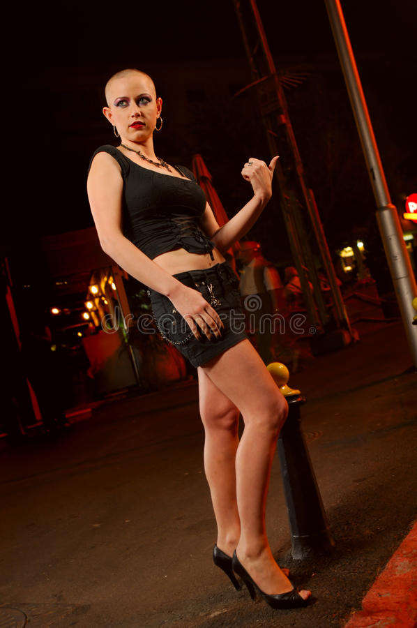 Bald Prostitute In The Street Stock Images