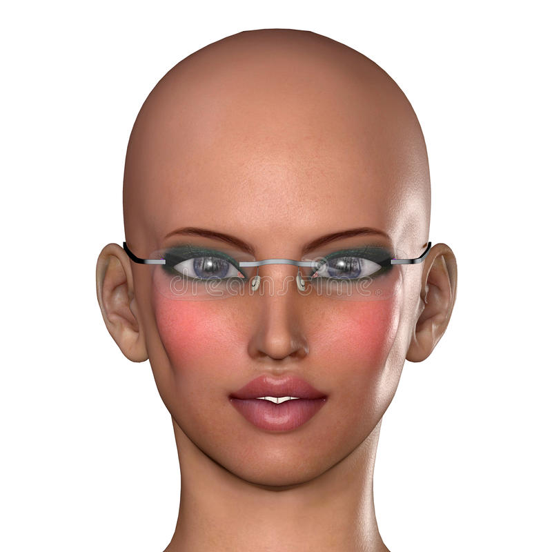 Download Bald woman with glasses stock illustration. Image of illustration - 35049224