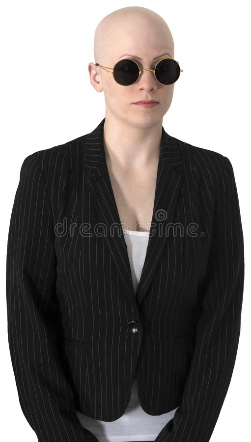 Bald Woman, Sunglasses, Business, Isolated royalty free stock image