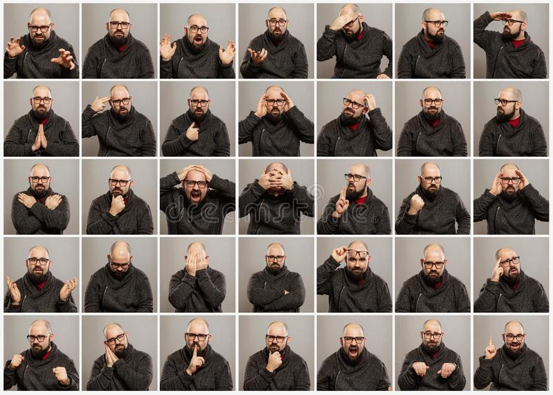Bald young man with glasses, a set of different emotions royalty free stock photo