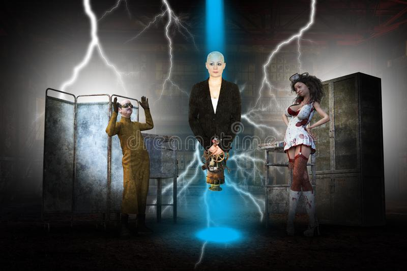 Evil Mad Scientist, Laboratory Experiment, Horror. A bald young woman is the subject of an evil experiment by a mad scientist and his minion assistant crazy