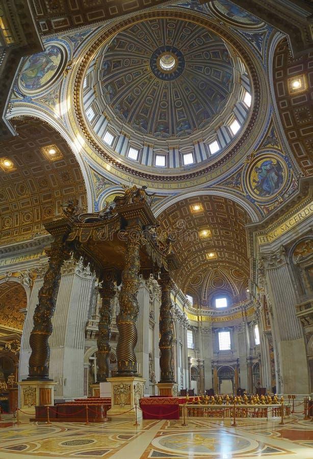 Baldacchino, St Peter's, Rome. The seventeenth-century bronze canopy designed by Gian Lorenzo Bernini royalty free stock photography