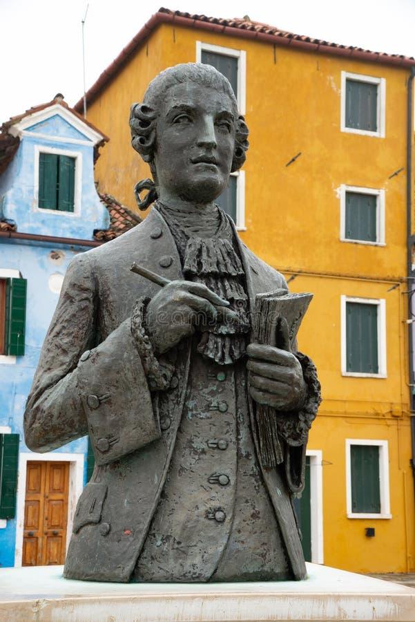 Baldassare Galuppi作曲家雕象,叫'buranello'在Burano正方形, 库存图片