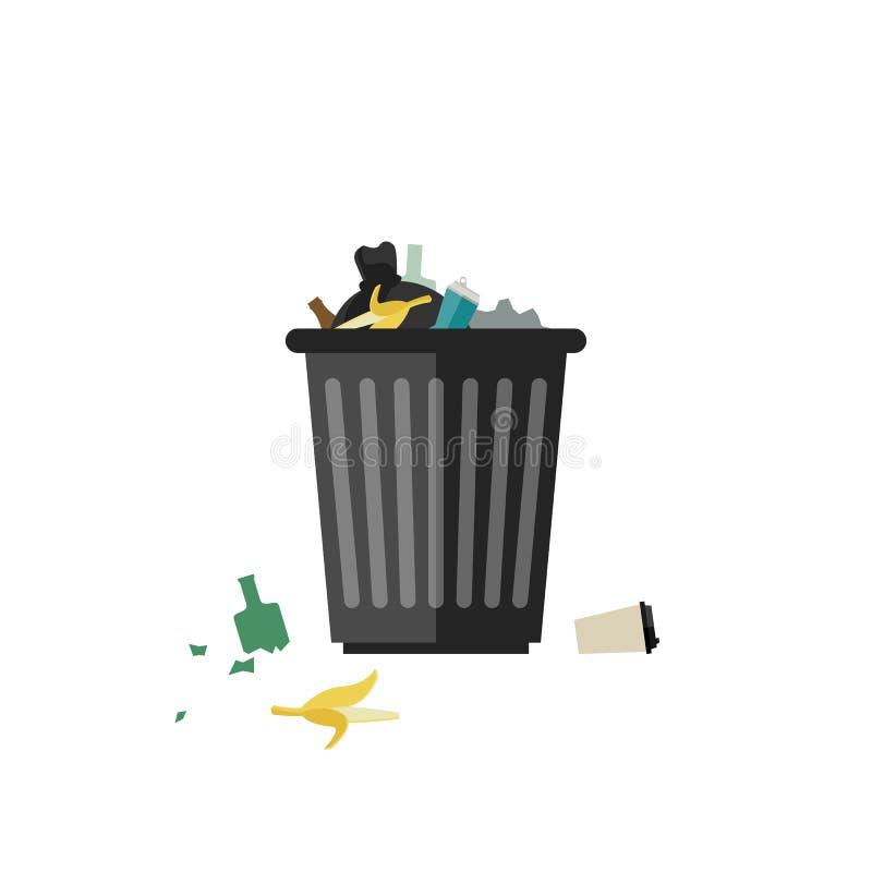 Balde do lixo completamente ilustração royalty free