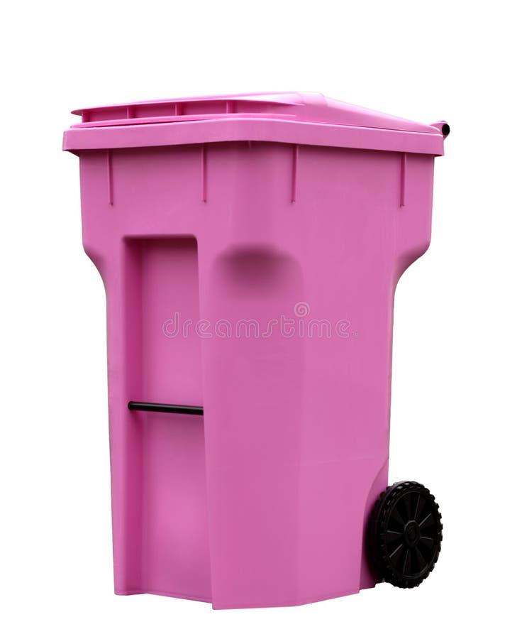 Balde do lixo cor-de-rosa foto de stock