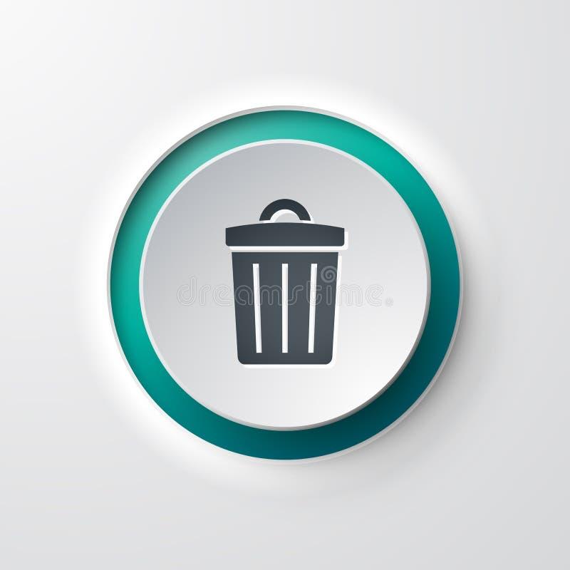 Balde do lixo da tecla do ícone da Web ilustração do vetor