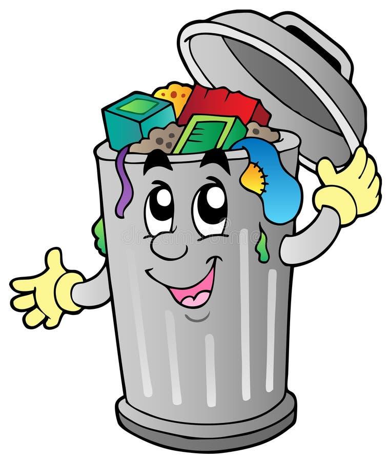 Balde do lixo dos desenhos animados ilustração stock