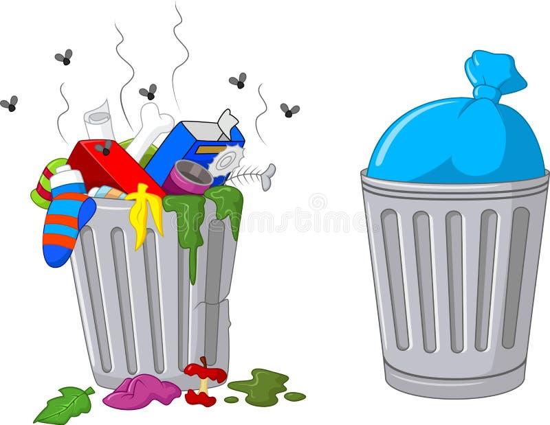 Balde do lixo dos desenhos animados ilustração royalty free