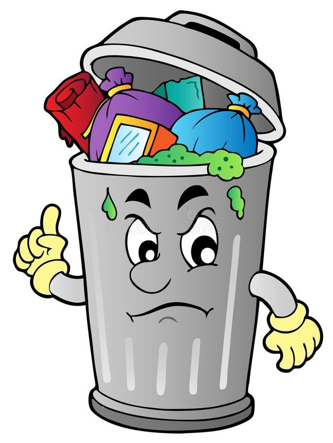 Balde do lixo irritado dos desenhos animados ilustração royalty free