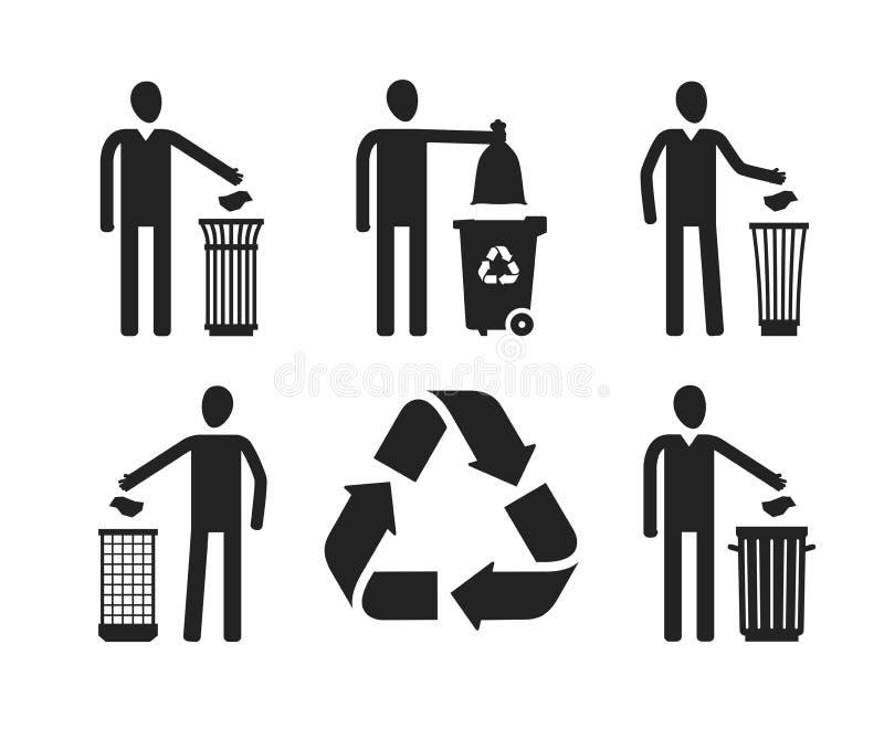 Balde do lixo ou escaninho com figura humana Reciclar, não desarruma o grupo de ícones ou de símbolos Ilustração do vetor ilustração stock