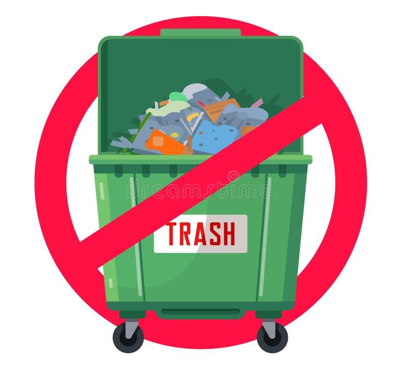 Balde do lixo proibido Polui??o da natureza ilustração stock