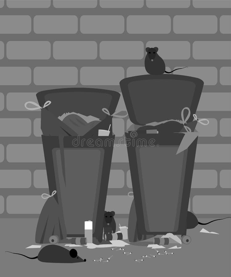 Baldes do lixo exteriores completamente do lixo com os ratos em desenhos animados da noite ilustração do vetor