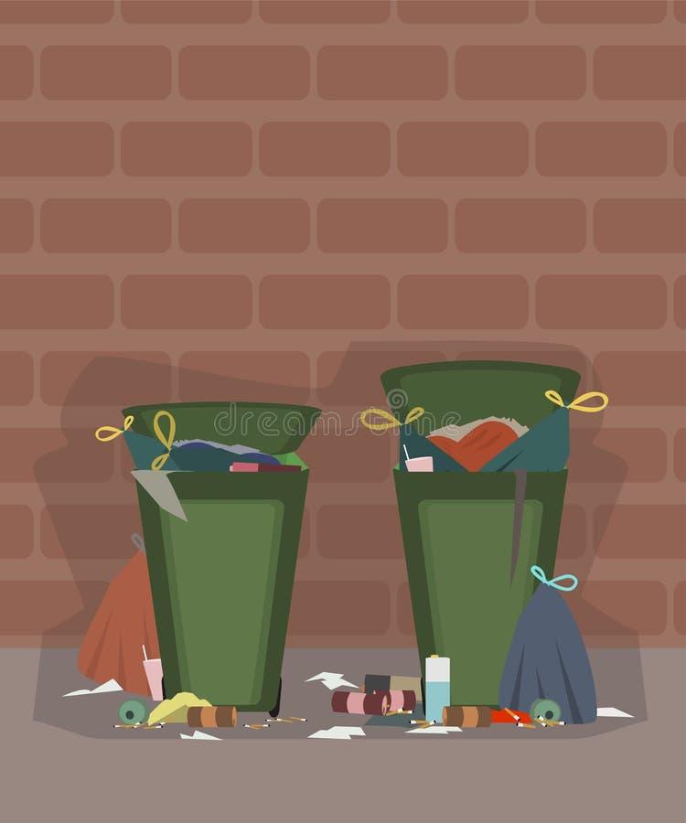 Baldes do lixo exteriores completamente de desenhos animados do lixo ilustração stock