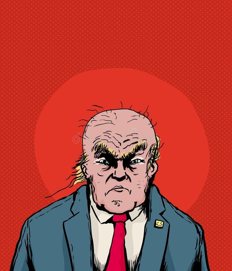 Balding Donald Trump met frown royalty-vrije illustratie